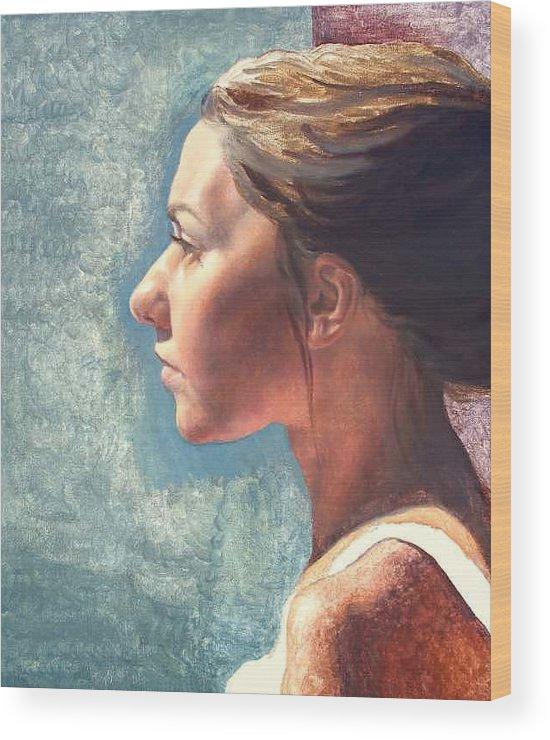 Portrait Wood Print featuring the painting Fresh Pose by Deborah Allison