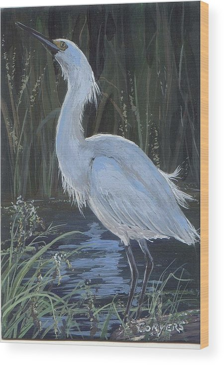 Egret Wood Print featuring the painting Egret by Peggy Conyers