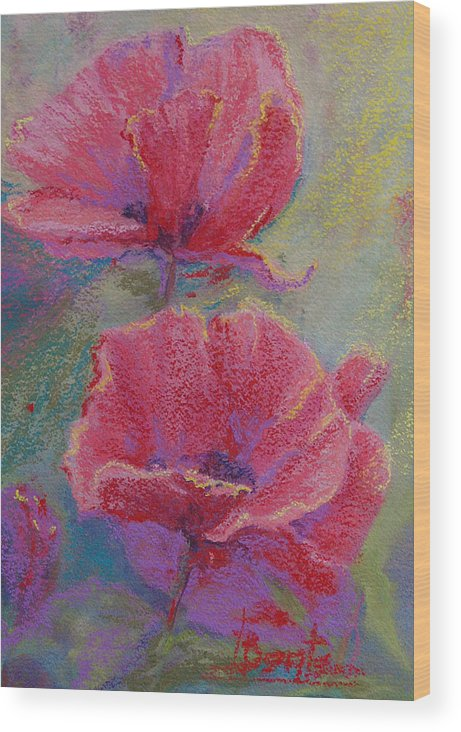 Poppies Wood Print featuring the pastel Poppy Duo by Bente Hansen
