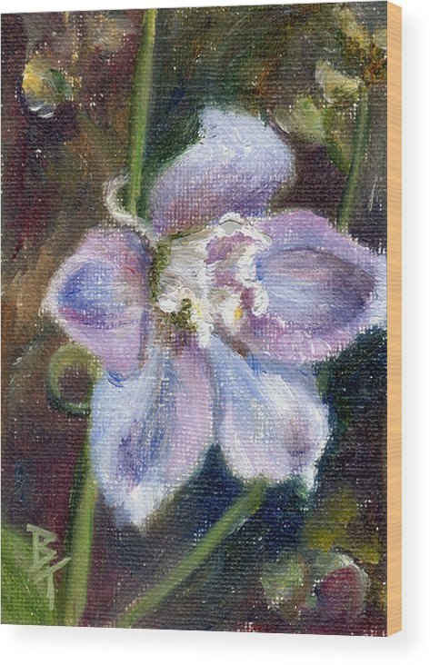 Flower Wood Print featuring the painting Sweet Bloom Aceo by Brenda Thour
