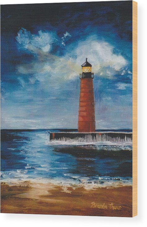 Lighthouse Wood Print featuring the painting Lonely Beacon by Brenda Thour