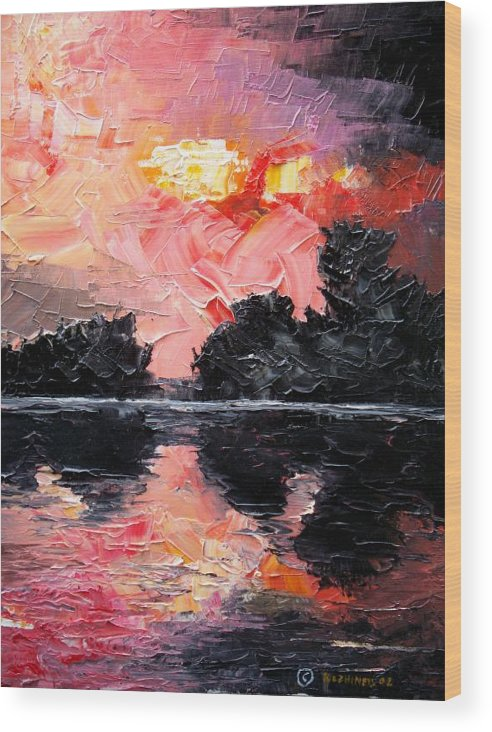 Lake After Storm Wood Print featuring the painting Sunset. After Storm. by Sergey Bezhinets