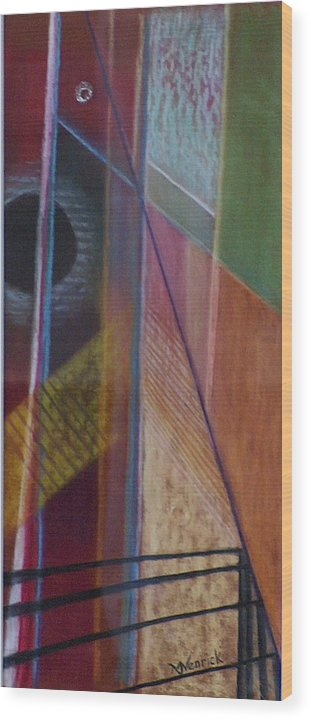 Non Objective Wood Print featuring the mixed media Untitled 4 by M J Venrick