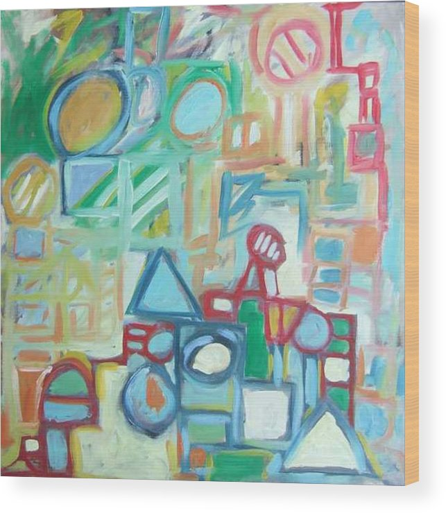 Abstract Wood Print featuring the painting Composition No 4 by Michael Henderson