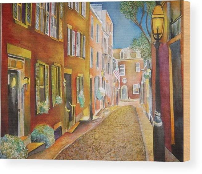 Street Wood Print featuring the painting Acorn Street by Susan Wester Perez