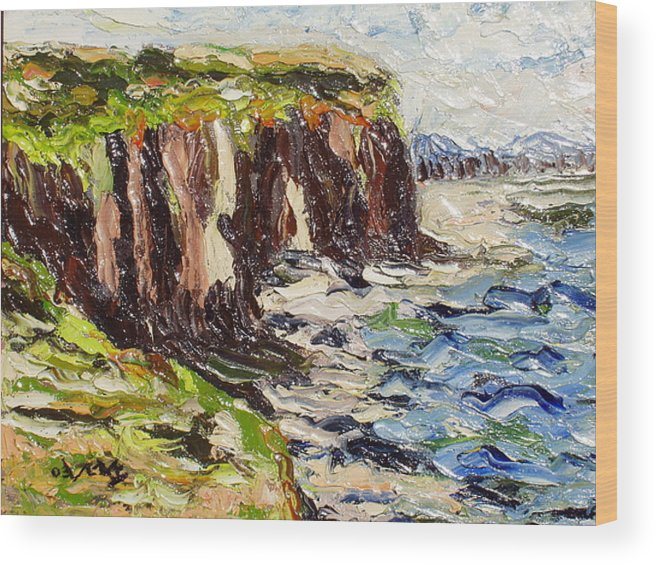 Abstract Paintings Wood Print featuring the painting Cliff by Seon-Jeong Kim