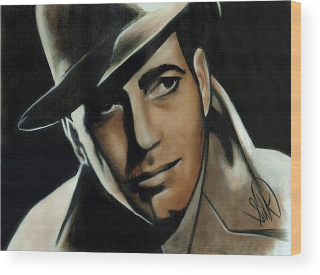 Portrait Wood Print featuring the painting Humphrey Bogart by Elizabeth Silk