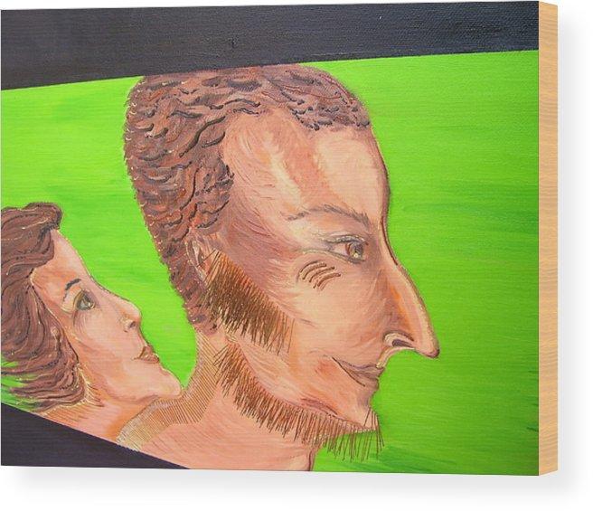 Art Wood Print featuring the painting Love - Fragment by Svetlana Vinokurtsev