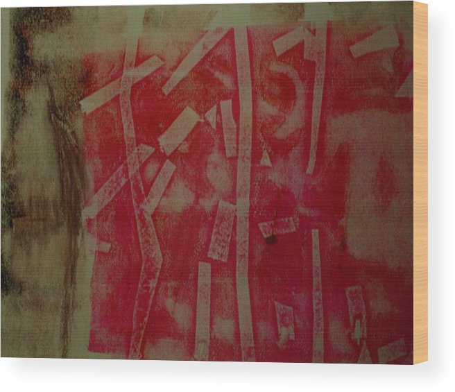 Pink Wood Print featuring the mixed media Pink Monotype by Susan Grissom