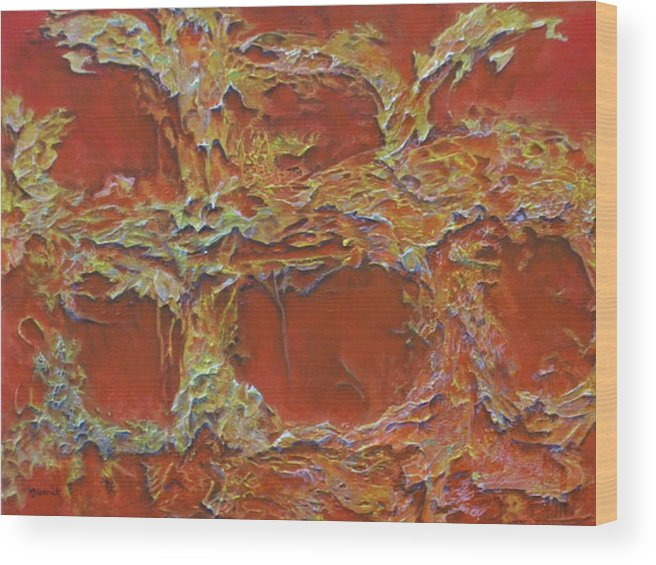 Abstract Wood Print featuring the painting Untitled 3 by M J Venrick
