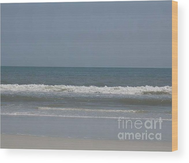 The Beach Near St. Augustine Wood Print featuring the photograph Watching The Waves by Barb Montanye Meseroll