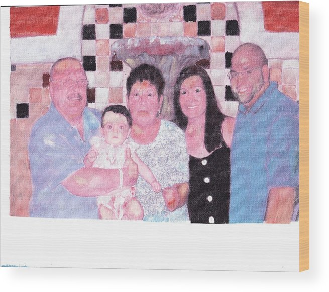 Family Wood Print featuring the painting Family by David Poyant