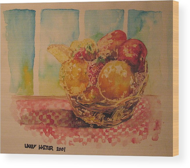 Fruit Wood Print featuring the painting Fruitbasket by Larry Whitler