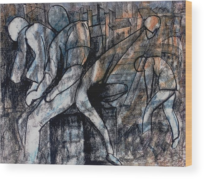 Art Wood Print featuring the drawing Post-modern Haste by Mushtaq Bhat