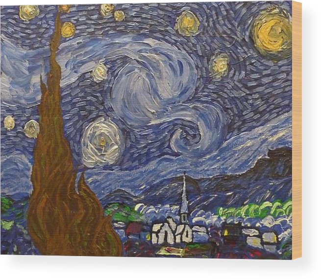 Starry Night Wood Print featuring the painting Starry Night - An Ode To Vincent by Joshua Redman