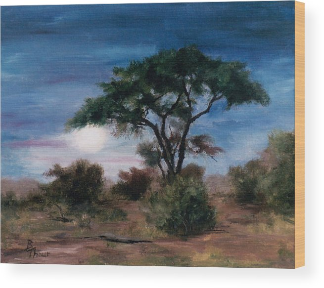 Moon Wood Print featuring the painting African Moon by Brenda Thour
