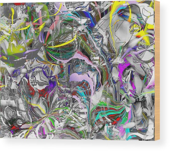 Abstract Wood Print featuring the digital art Big Wire by Dave Kwinter