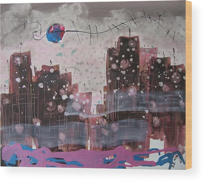 Brown Paintings Wood Print featuring the painting Cityscape by Seon-Jeong Kim