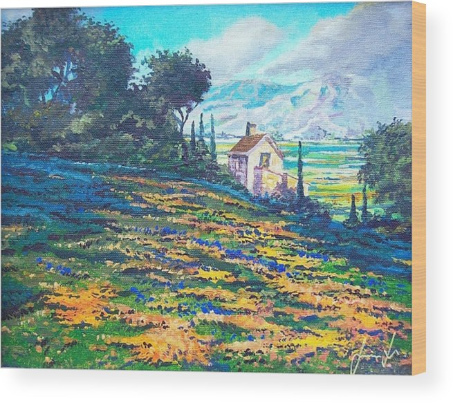 Flower Hill Wood Print featuring the painting Flower Hill by Sinisa Saratlic