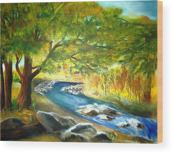 Landscape Wood Print featuring the painting Running Waters by Vivian Mosley