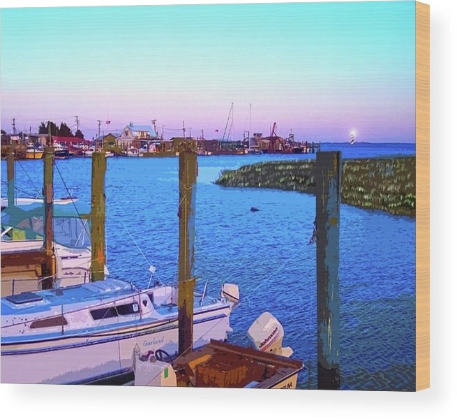 Southport Marina Wood Print featuring the mixed media Southport Lights by Garland Johnson