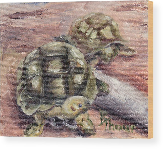 Turtle Wood Print featuring the painting Turtle Friends by Brenda Thour