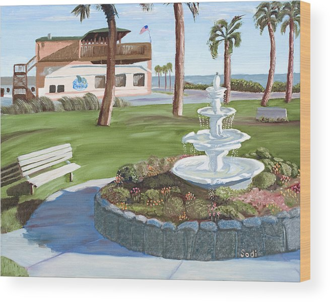 Landscape Wood Print featuring the painting Veterans' Park by Sodi Griffin