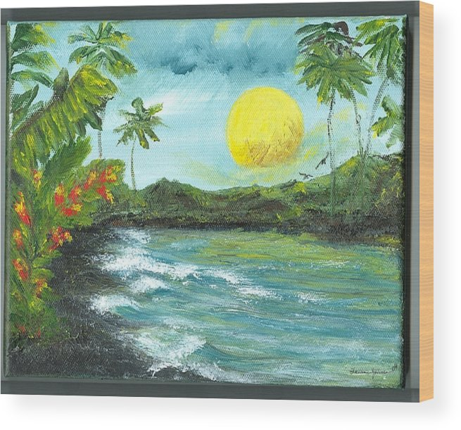 Beachscape Wood Print featuring the painting Kona Sunrise by Laura Johnson