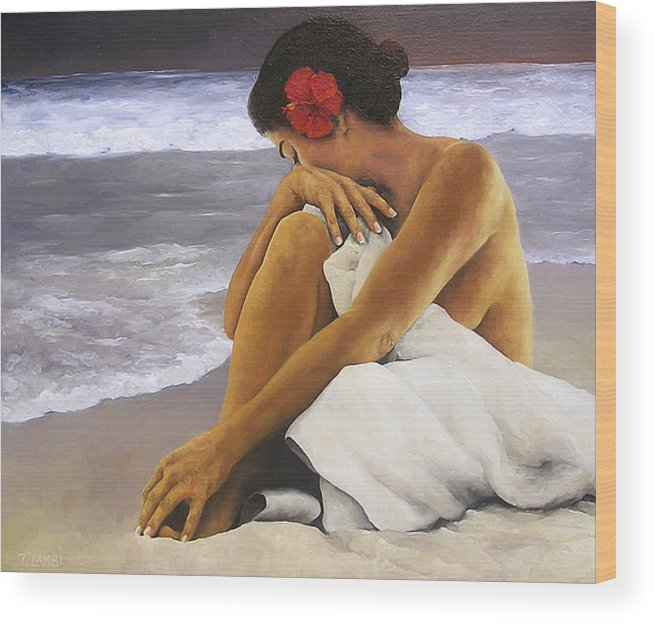 Nude Wood Print featuring the painting Hibiscus Dreaming by Trisha Lambi