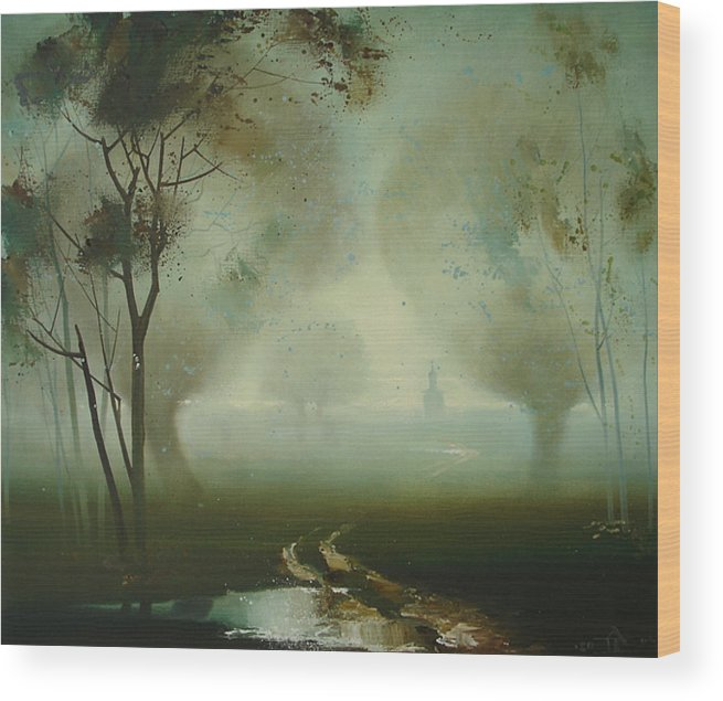 Landscape Wood Print featuring the painting Road by Andrej Vystropov