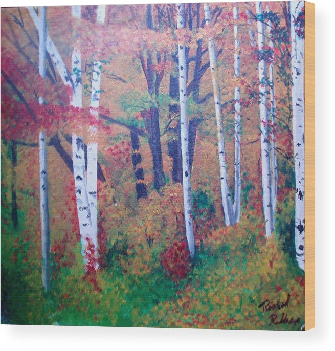 Fall Wood Print featuring the painting Washington Forest by Richard Rollings