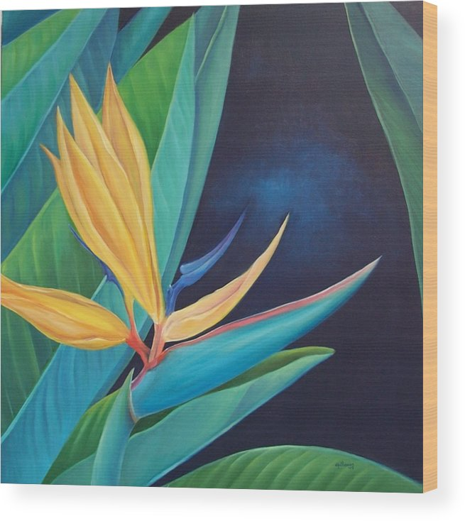 Flower Wood Print featuring the painting Bird Of Paradise by Elsa Gallegos