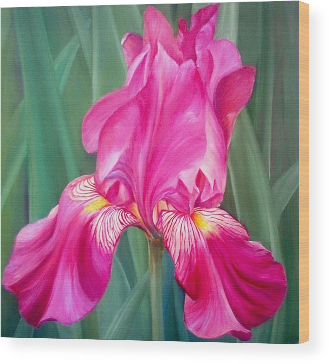 Flowers Wood Print featuring the painting Red Lilly by Elsa Gallegos