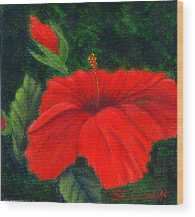 Floral Wood Print featuring the painting Red Hibiscus by SueEllen Cowan