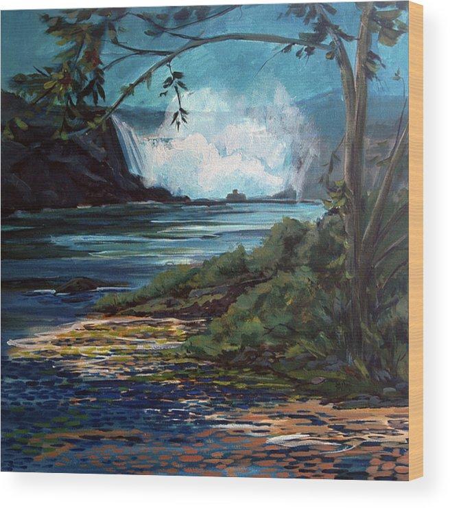 Niagara Falls Art Wood Print featuring the painting Niagara Thunder Series 6 by J R Baldini