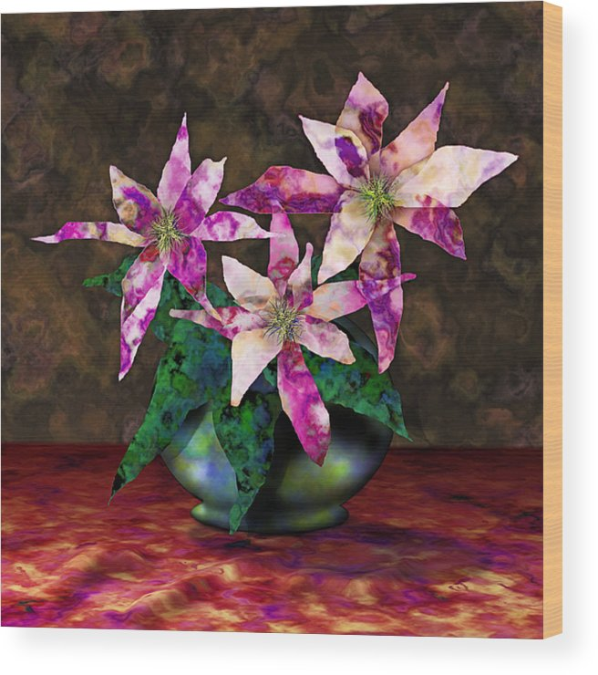 Floral Wood Print featuring the digital art Poinsettia Still Life by Gae Helton