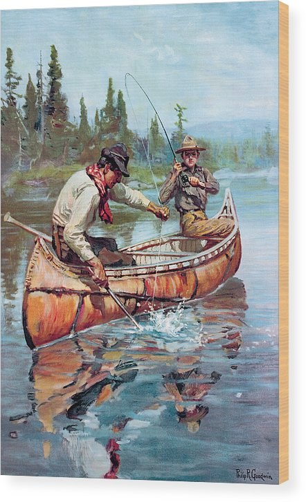 Fishing Wood Print featuring the painting Two Fishermen In Canoe by Phillip R Goodwin