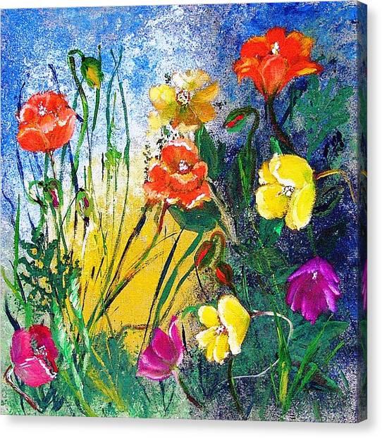 Abendwiese       Evening Garden Canvas Print by Birgit Schlegel