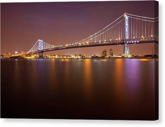 Ben Franklin Bridge Canvas Print by Richard Williams Photography