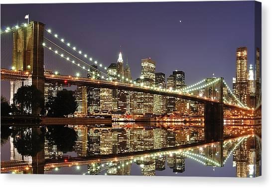 Brooklyn Bridge Canvas Print - Brooklyn Bridge At Night by Sean Pavone