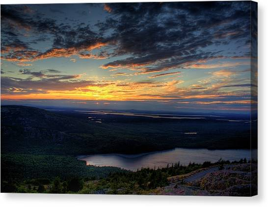 Cadillac Mountain Sunset I Hdr Canvas Print