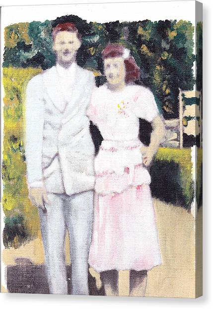 Caits Mom And Dad Canvas Print by David Poyant