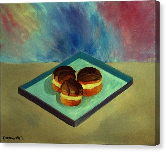 Chocolate Cakes Canvas Print by Kostas Koutsoukanidis