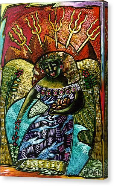 Coffee Goddess Canvas Print by Angelina Marino