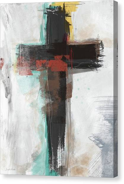 Religious Art Canvas Print - Contemporary Cross 1- Art By Linda Woods by Linda Woods