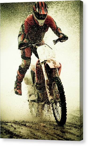 Motocross Canvas Print - Dirt Bike Rider by Thorpeland Photography