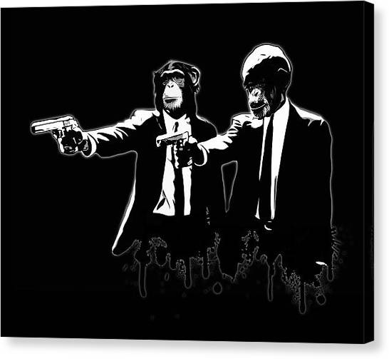Monkeys Canvas Print - Divine Monkey Intervention - Pulp Fiction by Nicklas Gustafsson