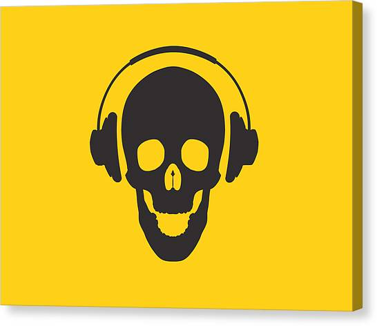 Skull Canvas Print - Dj Skeleton by Pixel Chimp
