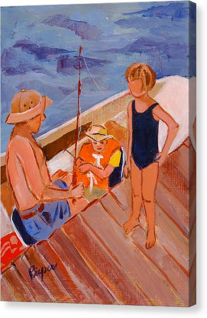 Dockside Negotiation On Who Is Fishing Canvas Print