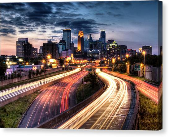 Roads Canvas Print - Downtown Minneapolis Skyscrapers by Greg Benz